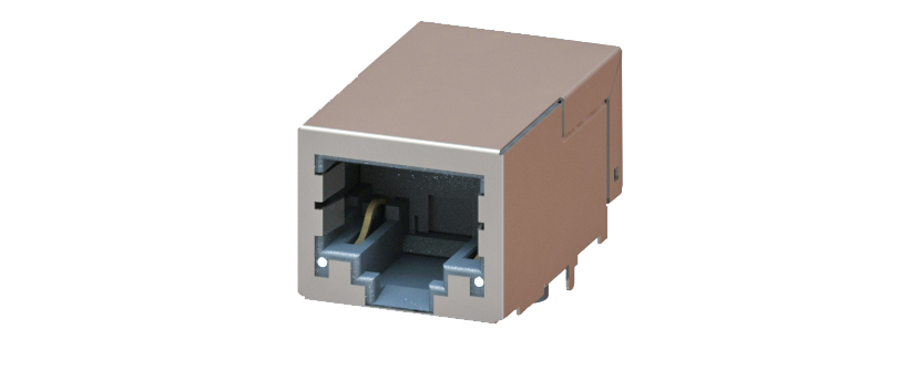 RJ45 - Y-CON - Jack - 90° - Tab Down - Magnetics - 2 Power Contacts - Lightpipes - 100MBit