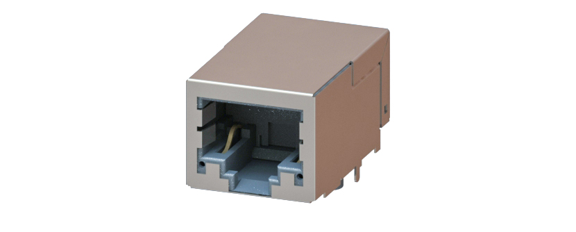 RJ45 - Y-CON - Jack - 90° - Tab Down - Magnetics - 2 Power Contacts - 100MBit