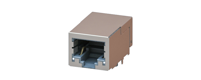 RJ45 - Y-CON - Jack - 90° - Tab Down - 2 Power Contacts - Lightpipes - CAT6A