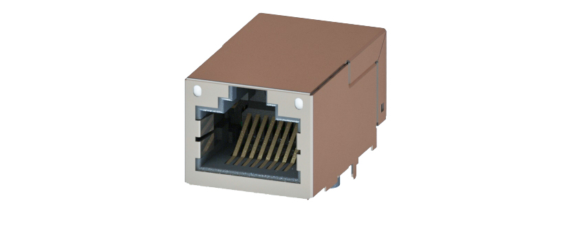 RJ45 - Y-CON - Jack - 90° - Tab Up - 2 Power Contacts - Lightpipes - CAT5